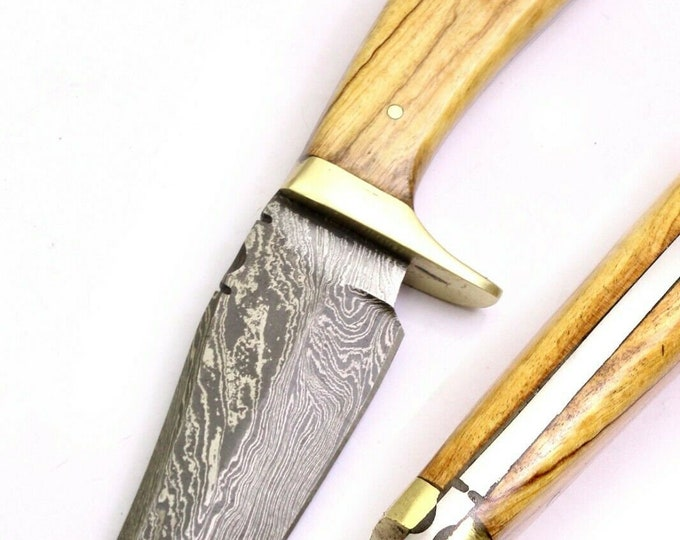 Featured listing image: Hunting Camping Survival Tactical Handmade Damascus Steel Wood Handle Knife