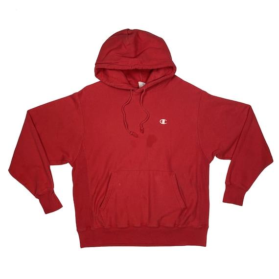 Reverse Weave Red Champion Hoodie