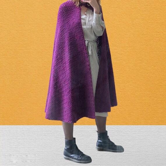 Maxi hooded wool coat  Wool cape handmade   Vintag