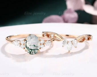 Vintage Moss Agate engagement Ring Set Unique Oval Moss Agate Ring rose gold delicate Anniversary diamond ring Proposal ring