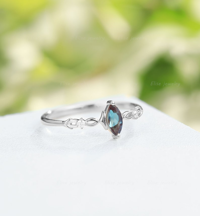 Art Deco Alexandrite engagement ring|Vintage Marquise Alexandrite ring white gold diamond ring Anniversary promise ring Unique Cluster ring