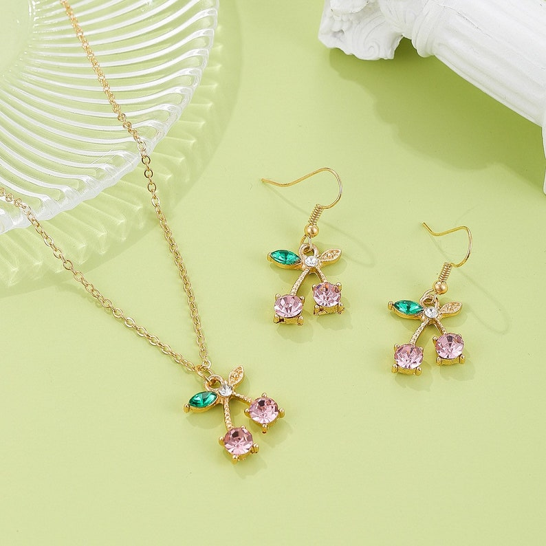 cherry hook earrings cherry jewellery set Cherry Earrings and necklace cherry necklace