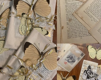 Butterfly Theme Bundle - Gold and Vintage Stationery Journaling Kit - Handmade Stickers, Papers, Old Book Pages, etc Journal Decorating
