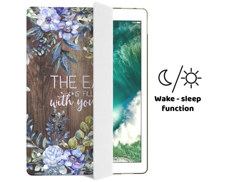 Holy Inscription iPad Air 2 Book Case Wood Texture Cover iPad Pro 11 iPad 10.5 Case iPad Cover 9.7 inch Mini iPad 5 Case 12.9 Blue Flowers