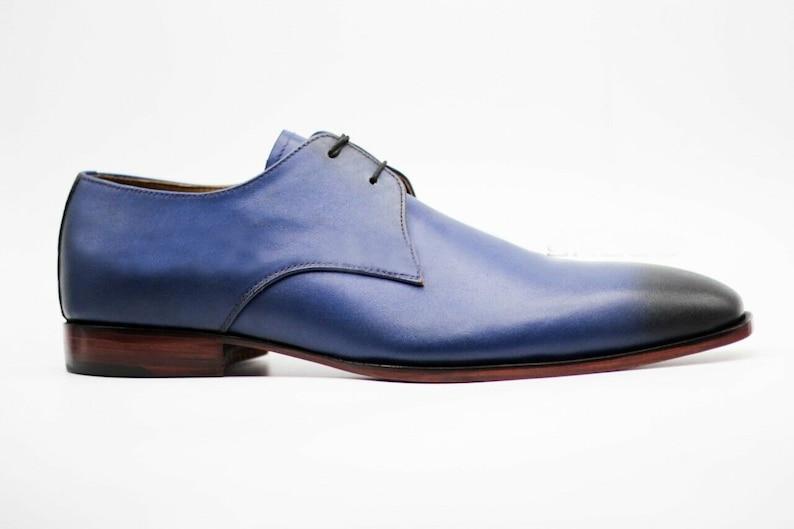 Men/'s Handmade Genuine Blue /& Black Leather Wingtip Lace Up Formal Shoes