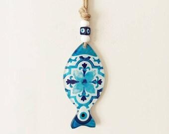 Turkish Evil Eye Bohemian Jewelry Artisan Handmade Evil Eye Bead Fish Pendant Glass Fish Evil Eye Pendant Blue Shades Fish Evil Eye