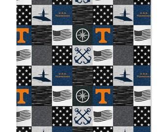 Personalized Tennessee volunteers fleece and minky baby blanket.