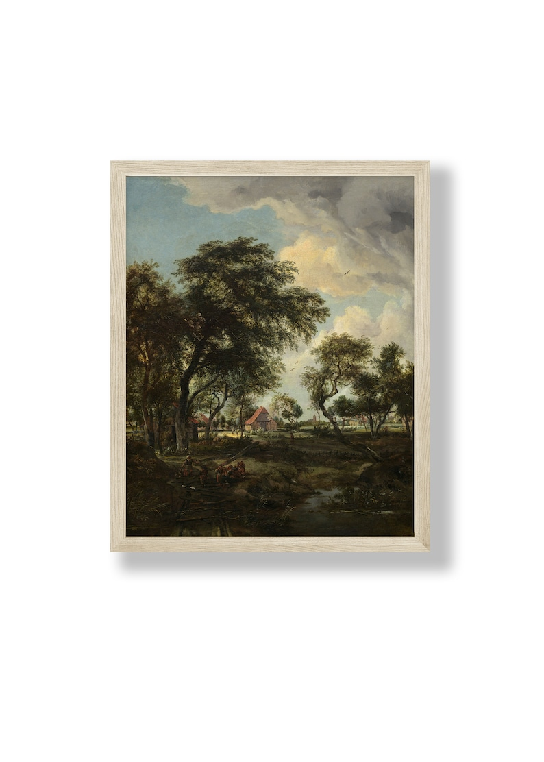 A Farm In The Sunlight  Instant Digital Download Vintage Oil image 1