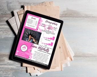Pink Customizable Influencer Media Kit Template For Beginners on YouTube Instagram Facebook Social Media