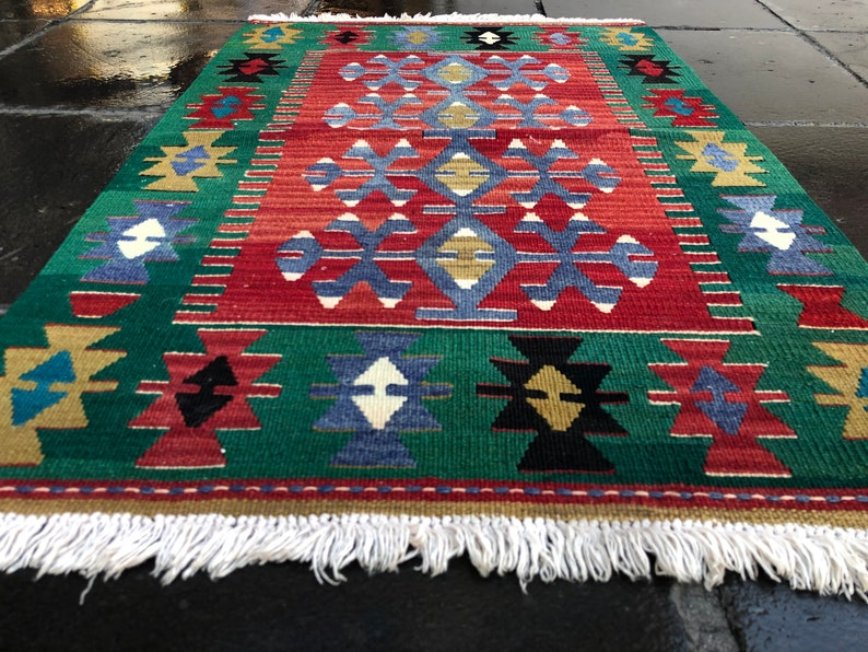 Boho Rug Handmade Rug Anatolian Rug Oushak Rug Vintage Rug Faded Pastel Muted Colors Small  Area Rug Turkish Rug 3/'2/'/'x2/'1/'/'