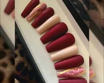FALL'n LOVE - MATTE - Maroon and Cream gel polish w/ hand painted Marble accents - Custom Press On Nails Set -  Application Kit Included!