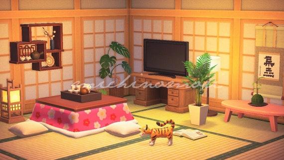Acnh Modern Cute Japanese Living Room Design Animal Crossing Etsy