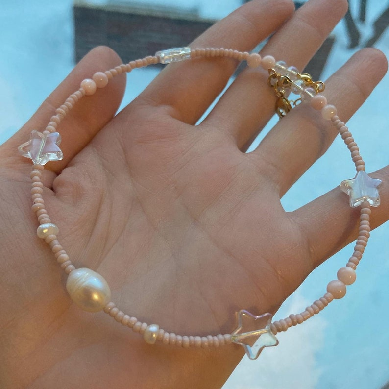 DM for adult size mini style go twinning with mom style Baby Pink Stars freshwater Pearl necklace