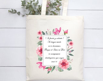 Se fuerte y valiente tote bag Josue 1 9 Spanish Bible verse Organic Tote Bag