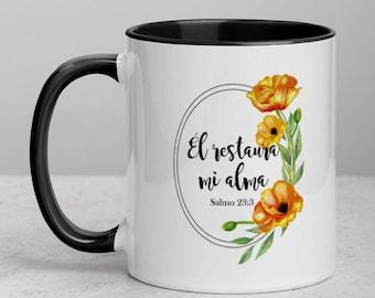 El restaura mi alma Spanish bible verse Mug with Color Inside