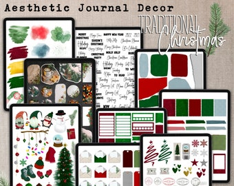 AESTHETIC JOURNAL DECOR Kit 7 - Traditional Christmas, Digital Decorative & Functional Stickers, Papers for Holiday Planner and Journal
