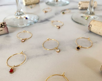 Wine Glass Charms—Multiple Colored Gold Glass Gems (Set of 12)