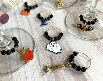 Wine Glass Charms—Classy Halloween Gold Enamel Assorted Charms (Set of 7)