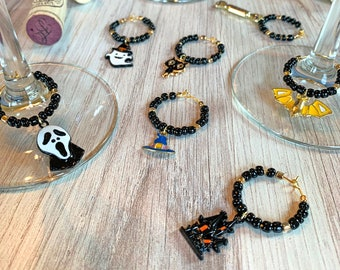 Wine Glass Charms—Fun Halloween Gold Enamel Assorted Charms (Set of 8)