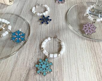 Wine Glass Charms—Snowflake Winter Wonderland Enamel Assorted Charms (Set of 6)