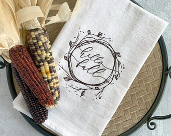 Fall Flour Sack Towel—Hello Fall