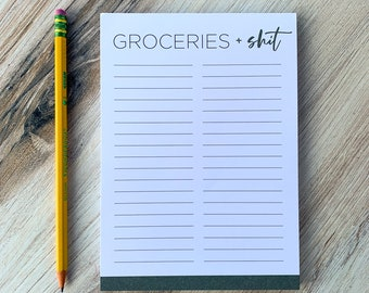 Magnetic Shopping List Notepad—Groceries and Shit