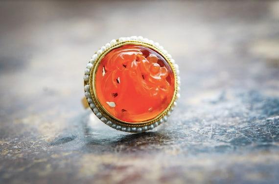 Victorian Ring | Vintage Carnelian Ring | Carnelia