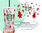Easter Svg File for Cutting Machine, Bunny Full Wrap Easter For Starbucks, Easter Cold cup, Instant Download, Silhouette Cameo, Cricut DIY
