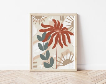 Neutral Floral Drawing
