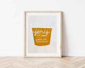 Watercolor Jeni's Ice Cream Coffee With Cream & Sugar Art Print