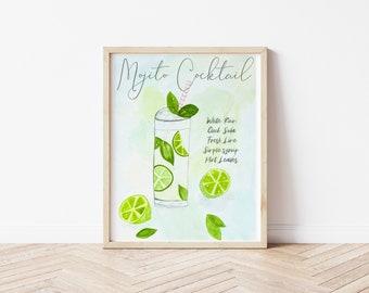 Mojito Cocktail Watercolor Art | Cocktail Recipe | Kitchen Art