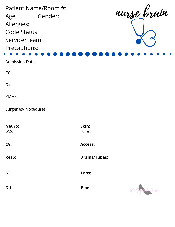 ICU Nurse Report Sheet  Nurse Brain ICU Inside Nurse Report Template