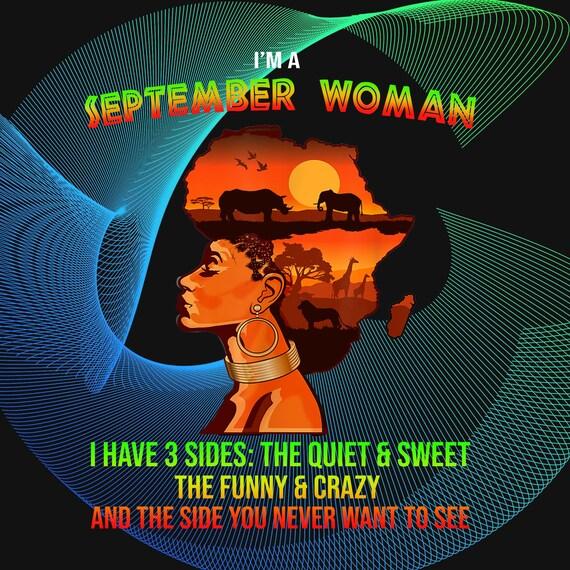 Black Woman I'm A September Queen I Have 3 Sides Gift INSTANT DOWNLOAD - Digital Print Design