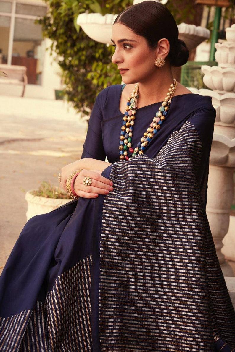 saree dress Blue Kanchipuram Pure silk handloom saree and blouse for women saree indian saree dress for women traditional saree
