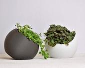 Tilted Sphere Pot, round pot, indoor plant pot, marble pot, white pot. modern, minimalist
