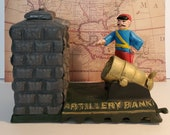 VTG 39 Artillery Bank 39 Rare Cast-Iron Mechanical Bank, Collectible Functional Great Gift For Dad Office Decor Cool Paper Weight