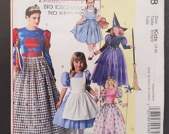 """McCall Sewing Pattern M4948  'Dorothy/Alice' Costumes for Misses/Girls, Adult S,M,L,XL Size Kids (3-8) Chest 23""""-44"""" *Uncut/Factory Folded*"""