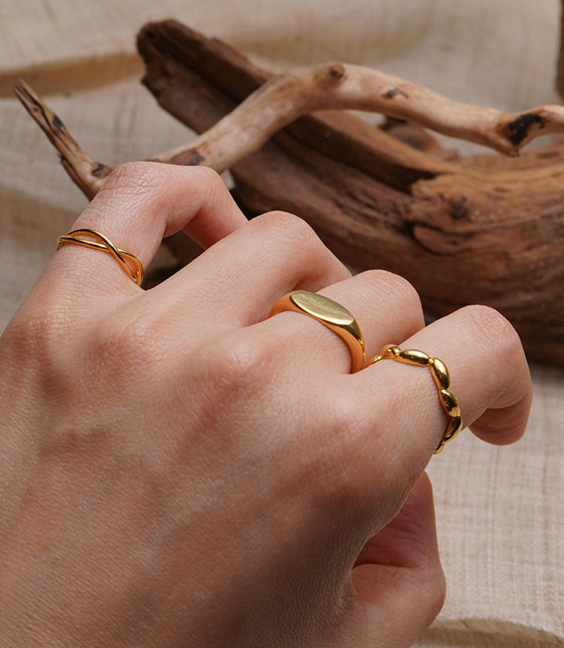 On Trend Boho Minimalist Ring Stack Modern Copper Fashionable Collection. The Plain Signet Ring Gift Idea Stackable