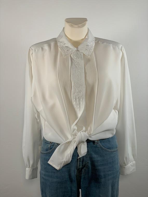 White Vintage Folklore Blouse 80s Oversize