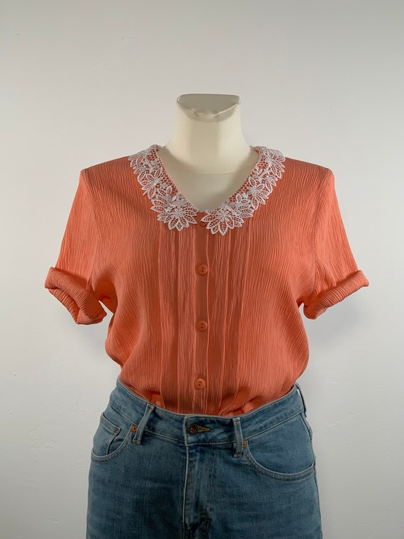 80s vintage top with lace collar salmon pink