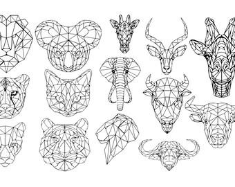 DEZIRO Polyester Geometric Polygon of Animals Horse Lion Shark Wolf Giraffe Elephant Pattern School Bag for Women