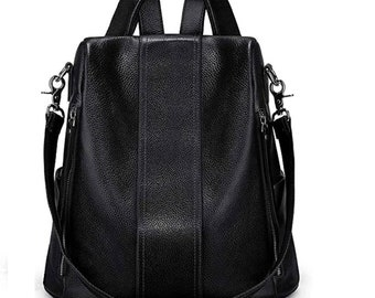 Convertible Black leather backpack for women, Women soft leather backpack Anti theft rucksack ladies convertible Shoulder bag Hobo bag