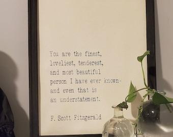 F Scott Fitzgerald The Great Gatsby quote home decor
