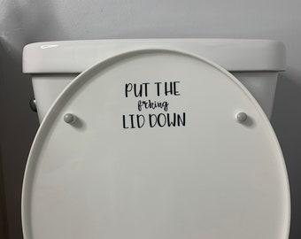 Seat  Lid  Bathroom Sticker Decor Elf on a Seat   TT Vinyl  Lid Cover USA