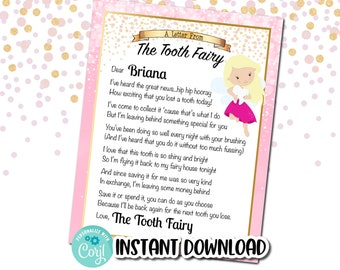 Tooth Fairy Letter INSTANT EDITABLE