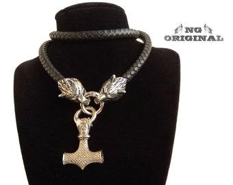 Black Leather Wolf Totem Pendant Necklace Viking Amulet Fenrir Scandinavian Celtic Mythology Wolf Head Medieval Asatru 316L Stainless Steel