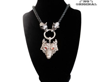 Viking wolf totem black leather necklace pendant 316L stainless steel mythology amulet Fenrir tradition Celtic Scandinavian Wolf totem
