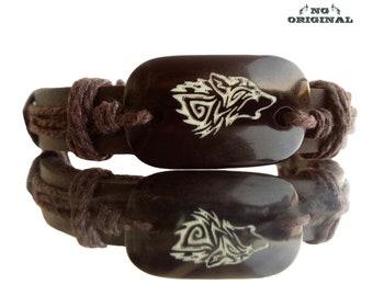Viking wolf leather bracelet wolf jewelry wolf Totem wolf Celtic wolf spirit Amulet wolf talisman protective bracelet