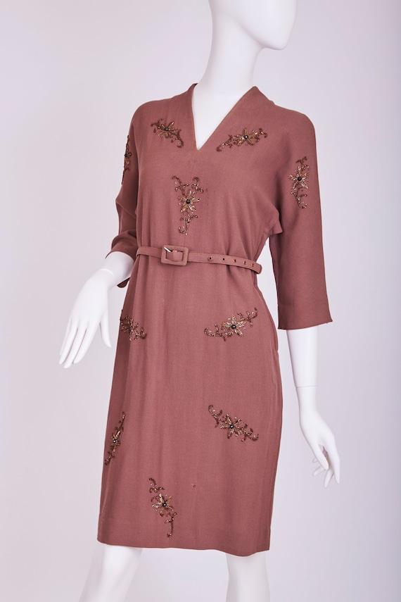 1940s brown beaded dress by Walgar