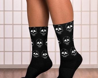 Unisex Socks Black with White Skulls M, L, XL
